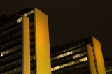 Yellow lit buildings|95